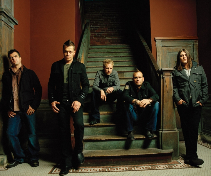 3 Doors Down Group On Stairs