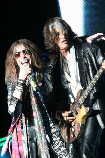 Aerosmith Steven Tyler With Joe Perry Smiling