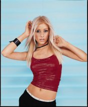 Christina Aguilera In a Red Top Showing Tummy